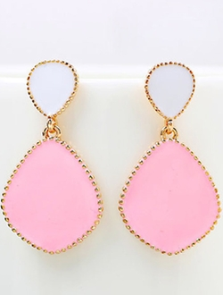 Romwe - Pink Glaze Gold Drop Earrings