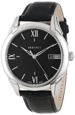 "Versace - ""Apollo"" Stainless Steel Casual Watch with Leather Band"
