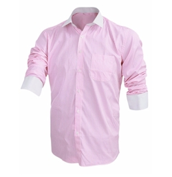 Uxcell - Stripe Point Collar Dress Shirt