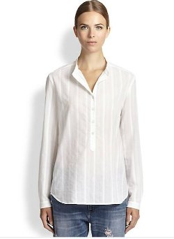 Stella McCartney  - Eva Sheer-Pinstripe Blouse