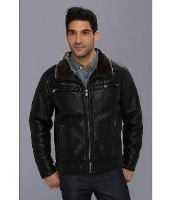 Calvin Klein - Faux Leather Jacket w/ Faux Shearling Lining