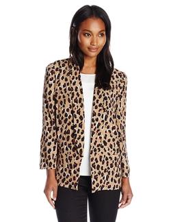 Chaus - Open Front Leopard Print Blazer