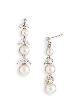 Majorica  - Pearl & Cubic Zirconia Linear Earrings