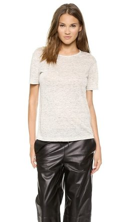 T by Alexander Wang  - Linen Short Sleeve Crew Neck T-Shirt