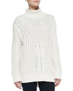 525 America - Cable-Knit Mock Turtleneck High-Low Sweater