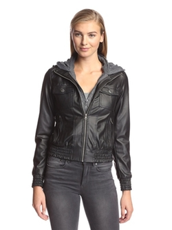 Miss London  - Hooded Faux Leather Moto Jacket