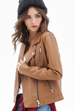 Forever 21 - Zippered Faux Leather Moto Jacket