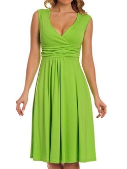 Persun - Wrap Front Plunge V Neck Sleeveless Dress
