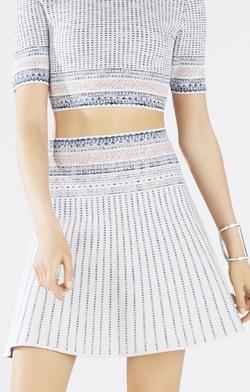 BCBGmaxazria - Woodblock Jacquard A-Line Skirt