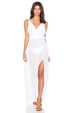 Bobi - Rayon Gauze V Neck Sleeveless Maxi Dress