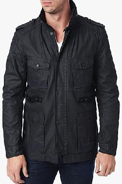 7forallmankind - COATED WAX FIELD JACKET IN JET BLACK