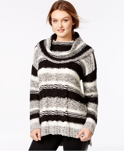 Kensie  - Striped Cable-Knit Pullover Sweater