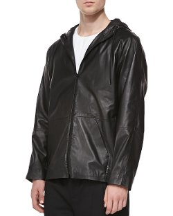 T by Alexander Wang	 - Faux-Leather Zip-Up Hoodie