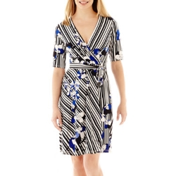 Studio 1 - Elbow-Sleeve Striped Floral Print Dress