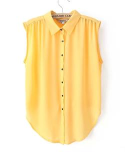 Chicnova - Candy Color Sleeveless Blouse With Lapel Collar