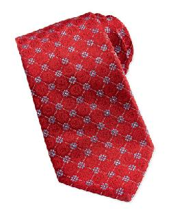 Valentino  - Medallion Flower Silk Tie, Red