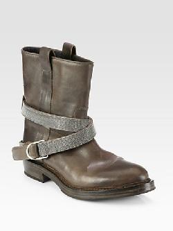 Brunello Cucinelli  - Leather Beaded Strap Motorcycle Boots
