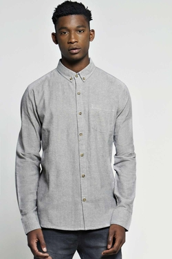 Boohooman - Long Sleeve Chambray Shirt