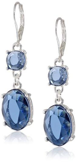"Anne Klein - ""A Stones Throw"" Silver-Tone and Blue Double Leverback Drop Earrings"