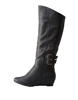 Charlotte Russe - Double-Buckled Wedge Boots