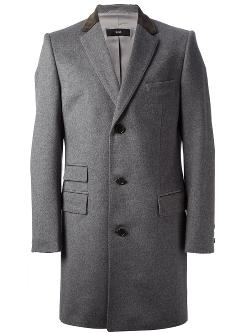 BOSS HUGO BOSS  - contrast collar overcoat