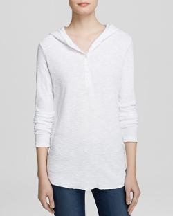 James Perse  - Thermal Henley Hoodie Shirt