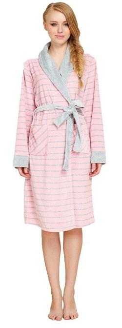 Quangang  - Thick Striped Nightie Bathrobe Sleepwear Robe