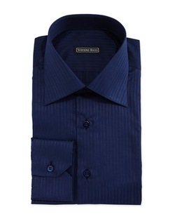 Stefano Ricci - Tonal-Stripe Woven Dress Shirt