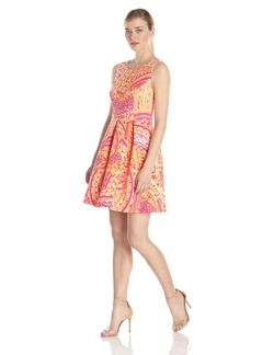 Sandra Darren - Sleeveless Printed Fit-And-Flare Dress