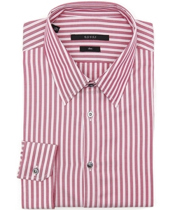 Gucci - Red And Pink Striped Cotton Point Collar Dress Shirt