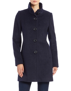 DKNY - Single-Breasted Button-Front Coat