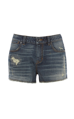 Karen Millen - Mid Wash Frayed Cut Off Denim Short