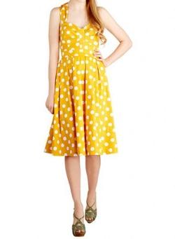 Rose Gal - Vintage Sweetheart Neck Sleeveless Polka Dot Dress