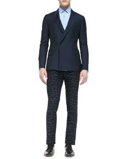 Lanvin  - Wool/Mohair Double-Breasted Jacket, Navy