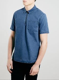 Topman - Blue Denim Zip Short Sleeve Overhead Shirt