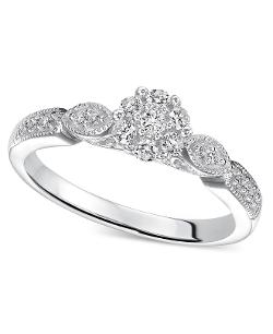 Diamond Ring - Sterling Silver Diamond Engagement Ring