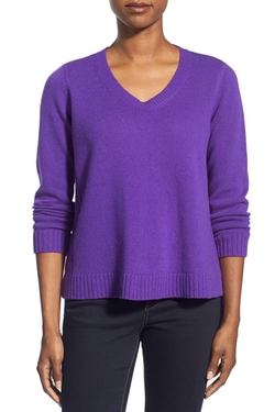 Eileen Fisher  - Boxy Wool Blend V-Neck Pullover