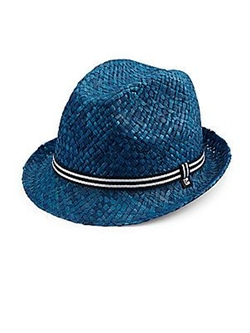 Block Headwear  - Striped Band Straw Fedora Hat