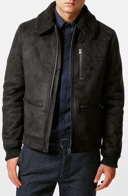 Topman  - Faux Suede Flight Jacket