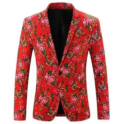 Welity Mens - Floral Printed Lapel Sport Coat