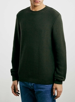 Topman - Green Plaited Stitch Crew Neck Sweater