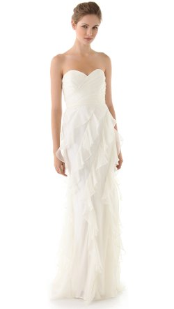 Badgley Mischka Collection - Iridescent Strapless Ruffle Gown