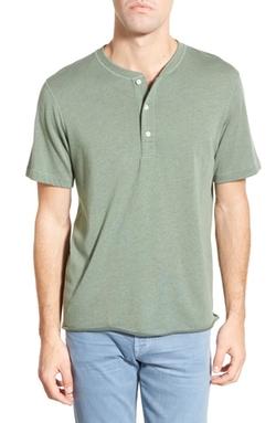 Billy Reid  - Hunter Regular Fit Stripe Short Sleeve Henley Shirt