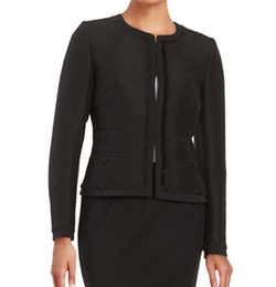 Karl Lagerfeld Paris  - Tweed Fringe Trim Blazer