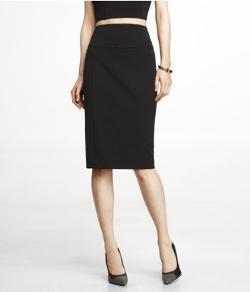 Express - High Yoke Waist Midi Pencil Skirt