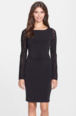 Shelli Segal - Lace Panel Jersey Sheath Dress