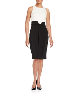 Badgley Mischka  - Colorblocked Sheath Dress