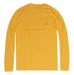 Nautica - Long Sleeve Solid Crewneck Logo T-Shirt