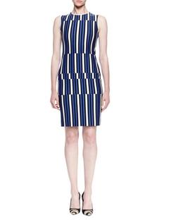 Lanvin  - Uneven Striped Jersey Sheath Dress