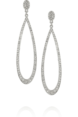 Kenneth Jay Lane - Rhodium-Plated Crystal Earrings